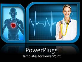 PowerPlugs: PowerPoint template with a smiling lady holding a stethoscope and a human with red heart