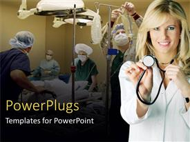PowerPlugs: PowerPoint template with smiling lady holding a stethoscope with other people performing surgery