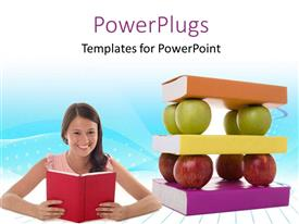 PowerPlugs: PowerPoint template with smiling lady holds open book with pile of books and apples