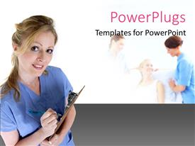 PowerPlugs: PowerPoint template with a smiling lady in medical outfit with people at the background