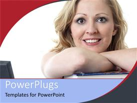 PowerPoint template displaying a smiling lady resting on a blue closed book