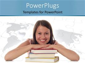 PowerPoint template displaying smiling lady rests hand and chin on pile of books
