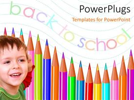 PowerPlugs: PowerPoint template with smiling little kid with colored pencils and text back to school