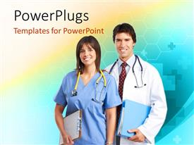 PowerPlugs: PowerPoint template with smiling medical doctor and nurse with stethoscope across neck