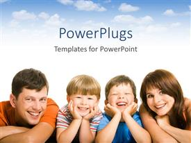 PowerPlugs: PowerPoint template with smiling mother, father, two boys, family
