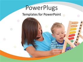 PowerPlugs: PowerPoint template with smiling mother and small boy playing with large abacus