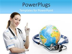 PowerPlugs: PowerPoint template with a smiling nurse beside a globe and a stethoscope