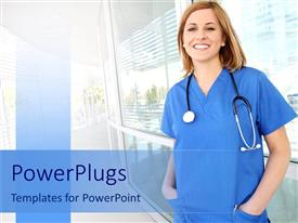 PowerPoint template displaying smiling nurse in hospital setting, young nurse with stethoscope
