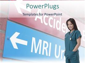 PowerPlugs: PowerPoint template with smiling nurse with sign leading to MRI unit