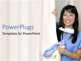 PowerPlugs: PowerPoint template with smiling nurse with stethoscope around neck pulls curtain to patient room aside