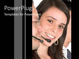 PowerPlugs: PowerPoint template with smiling pretty female with two males beside her wearing headsets