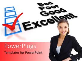 PowerPlugs: PowerPoint template with a smiling pretty lady with a marked 'Excellent' text