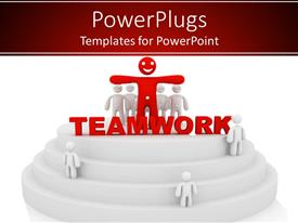 PowerPoint template displaying smiling red figure standing with arms outstretched surrounded by white figures and letters teamwork