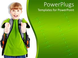 PowerPlugs: PowerPoint template with smiling school boy wearing backpack giving thumbs up gesture