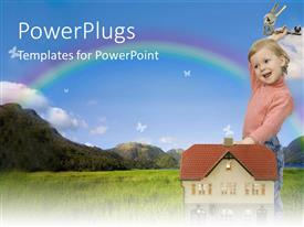 PowerPlugs: PowerPoint template with smiling small child standing next to small house holding large key ring with keys