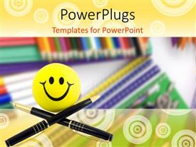 PowerPlugs: PowerPoint template with smiling smiley with two black pen crossed over pile of notebooks