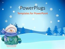 PowerPlugs: PowerPoint template with smiling snowman in coat, hat, scarf, mittens on snowy landscape with trees