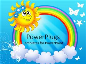 PowerPlugs: PowerPoint template with smiling sun with rainbow circle and clouds in blue background