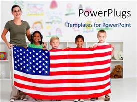 PowerPlugs: PowerPoint template with smiling teacher with four little kids holding up American flag