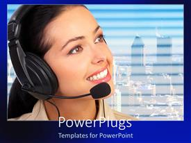PowerPoint template displaying smiling telephone operator wearing headset with cityscape background