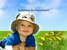 PowerPoint template displaying smiling toddler baby wearing hat, green grass, flowers, blue sky
