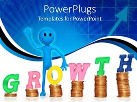 PowerPlugs: PowerPoint template with smiling, waving blue figure standing next to piles of coins with letters spelling Growth