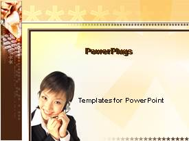 PowerPoint template displaying smiling woman adjusting telephone headset on brown background with asterisks
