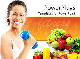 PowerPlugs: PowerPoint template with smiling woman carrying blue dumbbell with healthy fruits in glass bowl