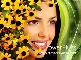 PowerPlugs: PowerPoint template with smiling woman face with yellow flowers, white teeth, woman face close up