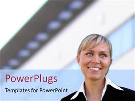 PowerPlugs: PowerPoint template with smiling woman in feminine business suit