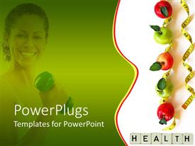 PowerPoint template displaying smiling woman with fitness weight in her hand fading in the green background and green and red apples on measuring tape and word health on blocks on white background