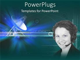 PowerPlugs: PowerPoint template with smiling woman with headphone and microphone with satellite dish
