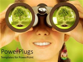 PowerPlugs: PowerPoint template with smiling woman holding binoculars at her eyes and big green tree reflecting in the lens