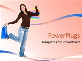 PowerPoint template displaying smiling woman holding shopping bags on pink background