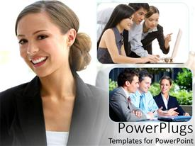 PowerPlugs: PowerPoint template with smiling woman next to depictions of group discussions