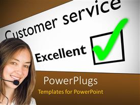 PowerPlugs: PowerPoint template with smiling woman wearing headset next to excellent customer service feedback card