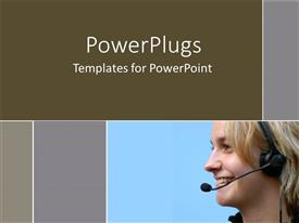 PowerPlugs: PowerPoint template with smiling woman wearing telephone headset on blue and gray background