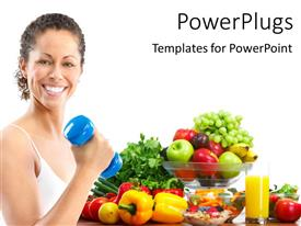 PowerPlugs: PowerPoint template with smiling woman working out with blue dumbbell with vegetables on white background