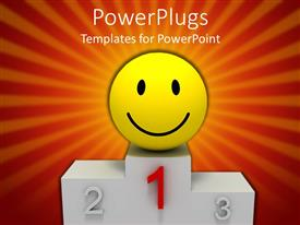 PowerPlugs: PowerPoint template with smiling yellow face standing alone on winner pedestal