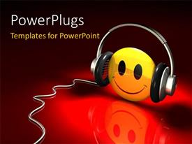 PowerPlugs: PowerPoint template with smiling yellow smiley face with headphones and reflection on red surface