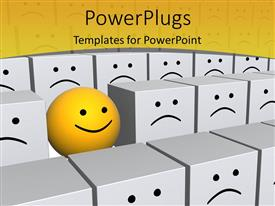 PowerPoint template displaying smiling yellow sphere standing in a group of uniform frowning gray boxes