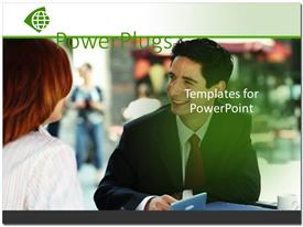 PowerPlugs: PowerPoint template with smiling young business man talking to woman over coffee