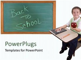 PowerPlugs: PowerPoint template with smiling young child sitting with an apple and back to school text