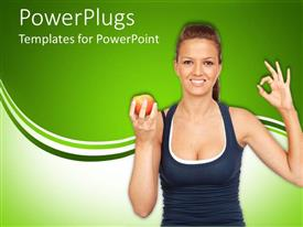 PowerPlugs: PowerPoint template with smiling young lady holds red apple in hand on green background