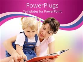 PowerPlugs: PowerPoint template with smiling young mother reads book to little girl