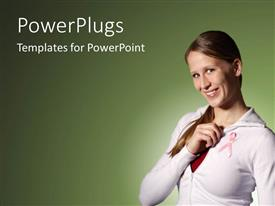 PowerPlugs: PowerPoint template with smiling young woman holds breast cancer awareness ribbon on grey background