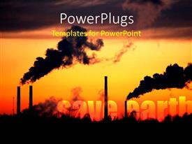 PowerPlugs: PowerPoint template with smoke coming out of factory depicting concept of pollution with yellow color