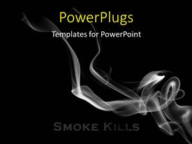 PowerPoint template displaying smoke flowing over a black background, smoking kills concept