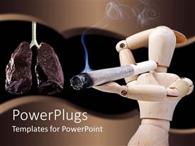 PowerPoint template displaying smoking is Dangerous for Health