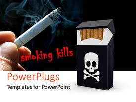 PowerPlugs: PowerPoint template with smoking kills banner with skull on cigarette pack and hand holding lighted cigarette